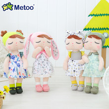 Metoo Spring Summer Edition Angela Stuffed Doll 33cm Soft Baby Plush Toy Fashion Rabbit Doll bowknot Bunny Gift for Kids Girls