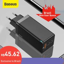 Baseus 65W GaN ładowarka szybkie ładowanie 4 0 3 0 typ C PD ładowarka USB z QC 4 0 3 0 przenośna szybka ładowarka do laptopa iPhone 12 Pro tanie tanio ROHS USB PD CN (pochodzenie) 1 port A 2 porty C Podróży Źródło A C Baseus GaN 65W Fast Charger AC 100-240V 50 60Hz 1 5A Max