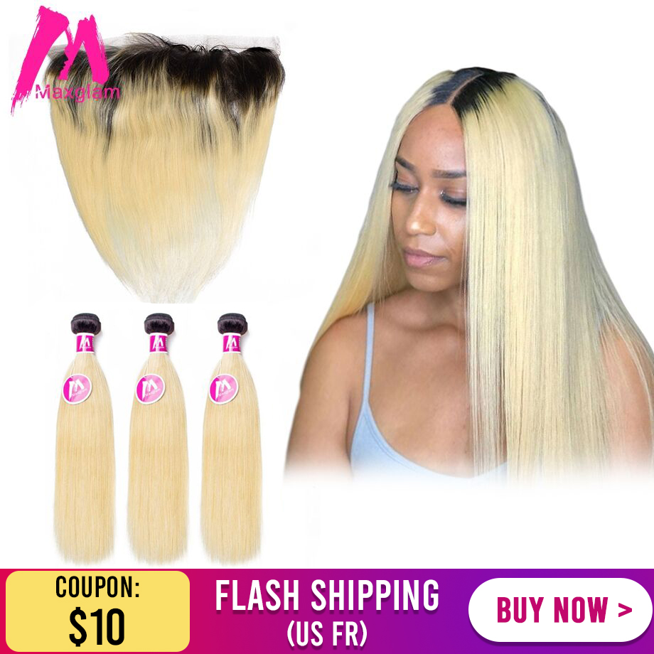 brazilian straight human hair extension bundles with frontal ombre T1B 613 weave 30 inch for black women 3 bundles remy hd full