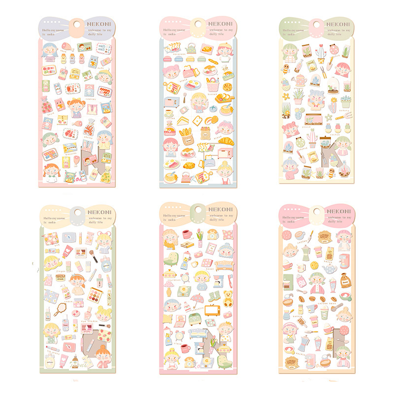 Girls Cosmetics Bread Food Journal Decorative Stickers Scrapbooking Mobile Phone Stickers Stationery DIY Album Stickers