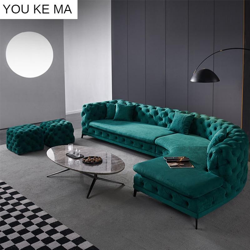Modern Light Luxury Fabric Sofa Villa, Fake Leather Curved Sectional Sofa