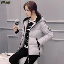 2019 Women Winter Jacket Hooded Solid Colour Down Cotton Coat Autumn Outerwear Female Short Parka Zipper Jaqueta Feminina