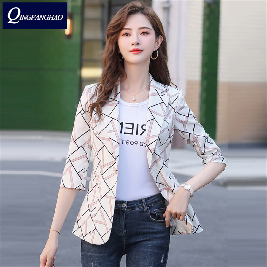 Checkered blazer women 2020 new spring ladies temperament slim style short suit jacket