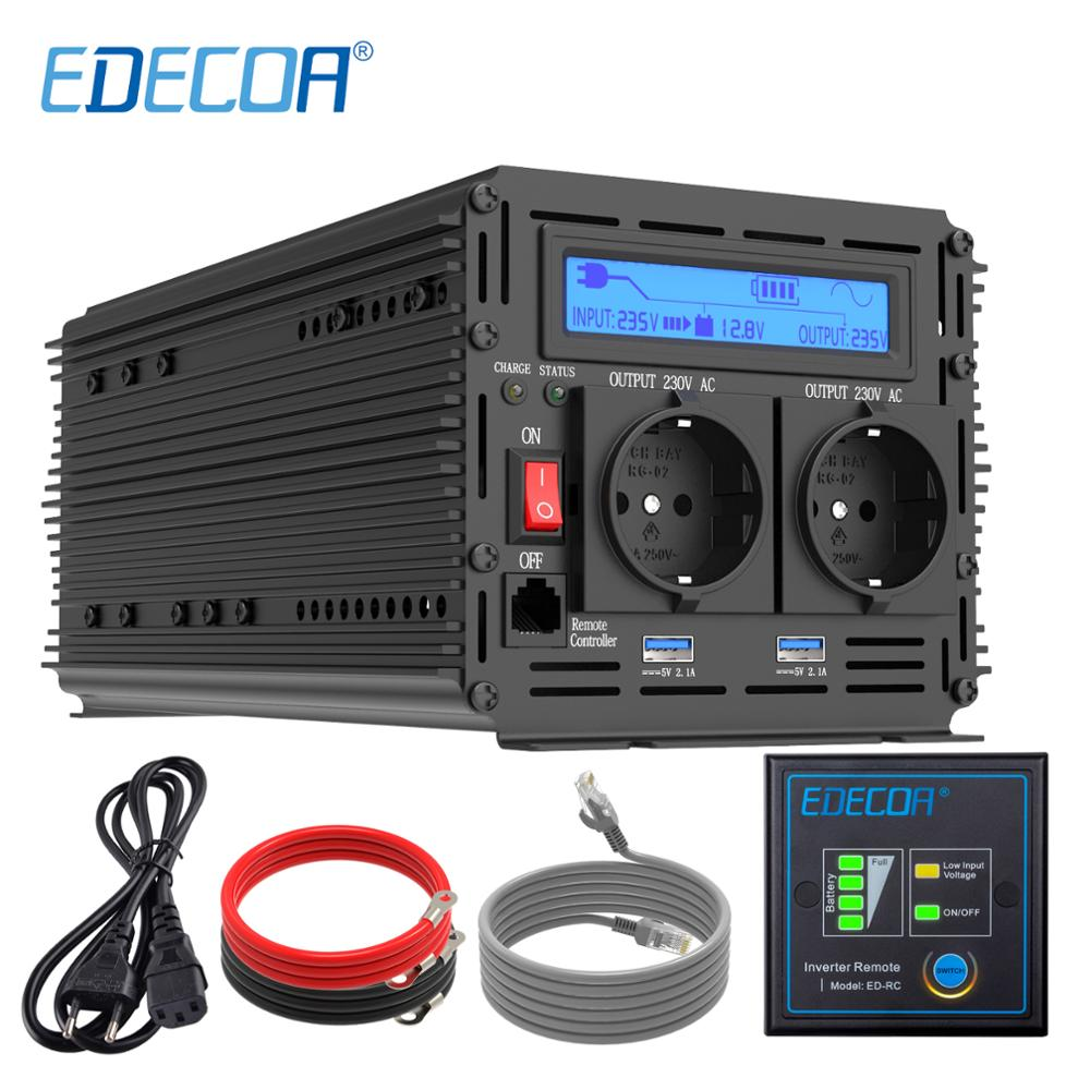 EDECOA UPS charger power <font><b>inverter</b></font> <font><b>1500W</b></font> 3000W pure sine wave DC 12V AC 220V 230V with 5V 2.1A USB remote control LCD display image