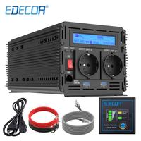 EDECOA UPS charger power inverter 1500W 3000W pure sine wave DC 12V AC 220V 230V with 5V 2.1A USB remote control LCD display