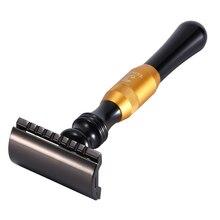 Yeni 1 emniyet jilet 10 bıçak çift kenar tıraş makinesi erkek tıraş manuel klasik Metal saplı