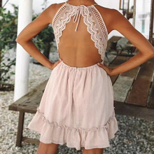Dresses for Women 2021 Lace Sexy Summer Beach Dresses V-Neck Backless Vintage Bohemia Spaghetti Strap Sundress