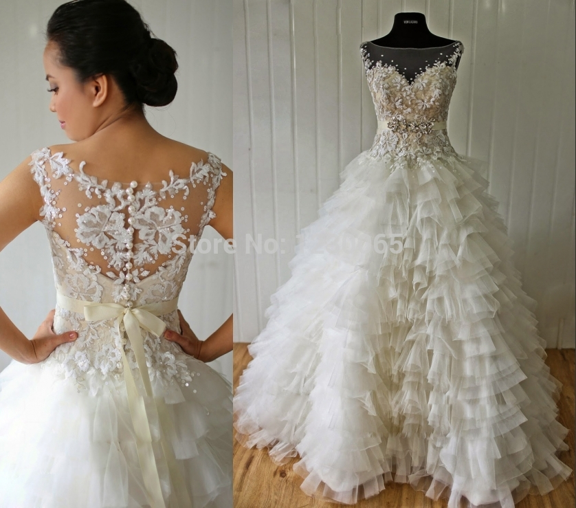 Free Shipping Hot Sexy Long Tiered Romantic Bridal Gown Boda 2016 Appliques Organza Casamento Vestido De Noiva Wedding Dress