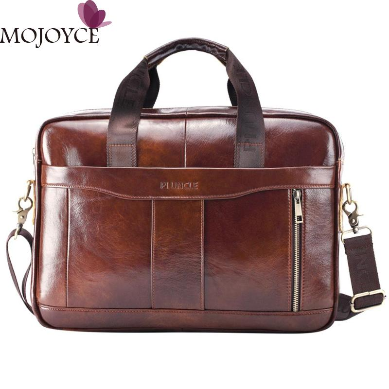 Men Briefcase Top-Handle-Bags Crossbody-Bags Laptop Business Shoulder Genuine-Leather