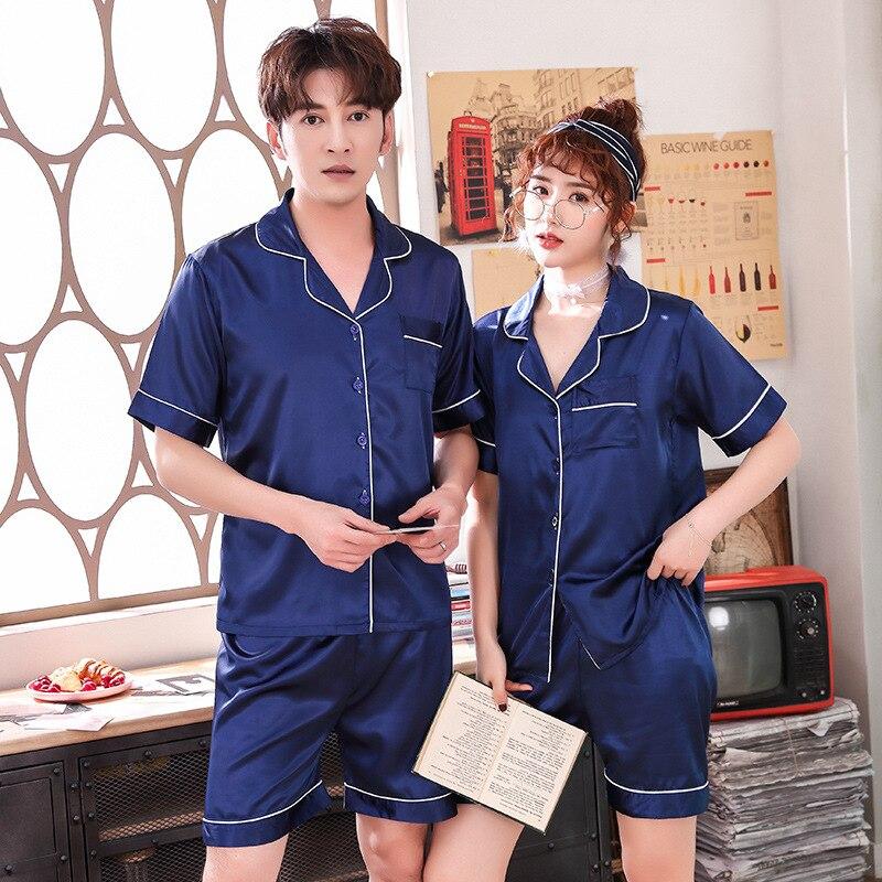 Мужские атласные пижамы 2020 лета Новый пижамный комплект свободного покроя любителей шорты рубашки и пижамы 2шт интимное женское белье сексуальное пижамы костюм