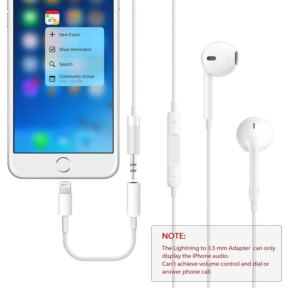 USB Cable For <font><b>iPhone</b></font> To 3.5mm Headphone <font><b>Jack</b></font> Audio <font><b>Adapter</b></font> Cable for <font><b>Iphone</b></font> White 150mm Length PVC Meterial <font><b>Adapter</b></font> Cable image