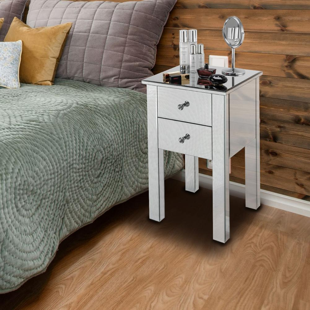 Modern Cabinet Furniture Contemporary Bedside Table Mirrored 2 Drawers Nightstand Bedside Table Nightstand Silver