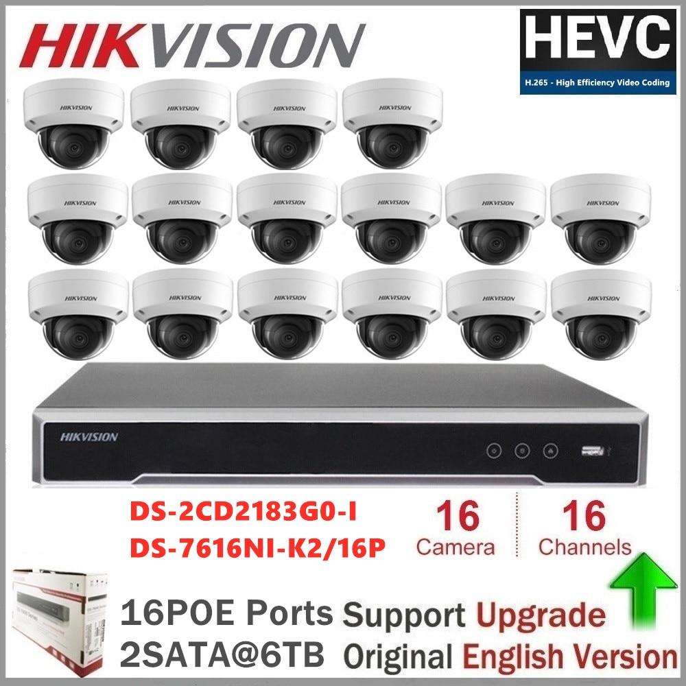 Hikvision 16CH CCTV Surveillance Kit 8MP Security Camera System 16CH POE NVR + 16Pcs 8MP POE IP Camera H.265 CCTV Waterproof