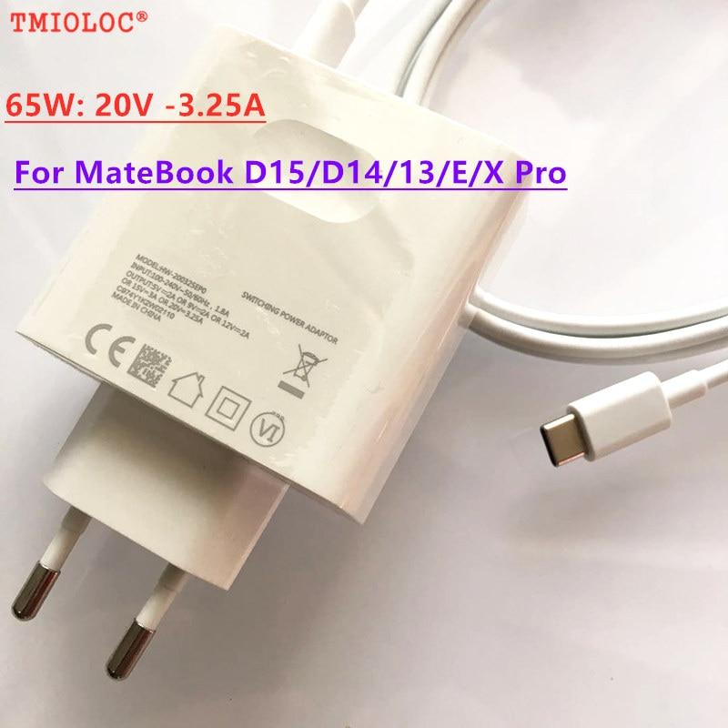 Adaptador de carregador de energia para viagem, 65w 20v 3.25a para huawei matebook d15 d14 13 e x pro magicbook 15 cabo de carregamento tipo c 14 pro