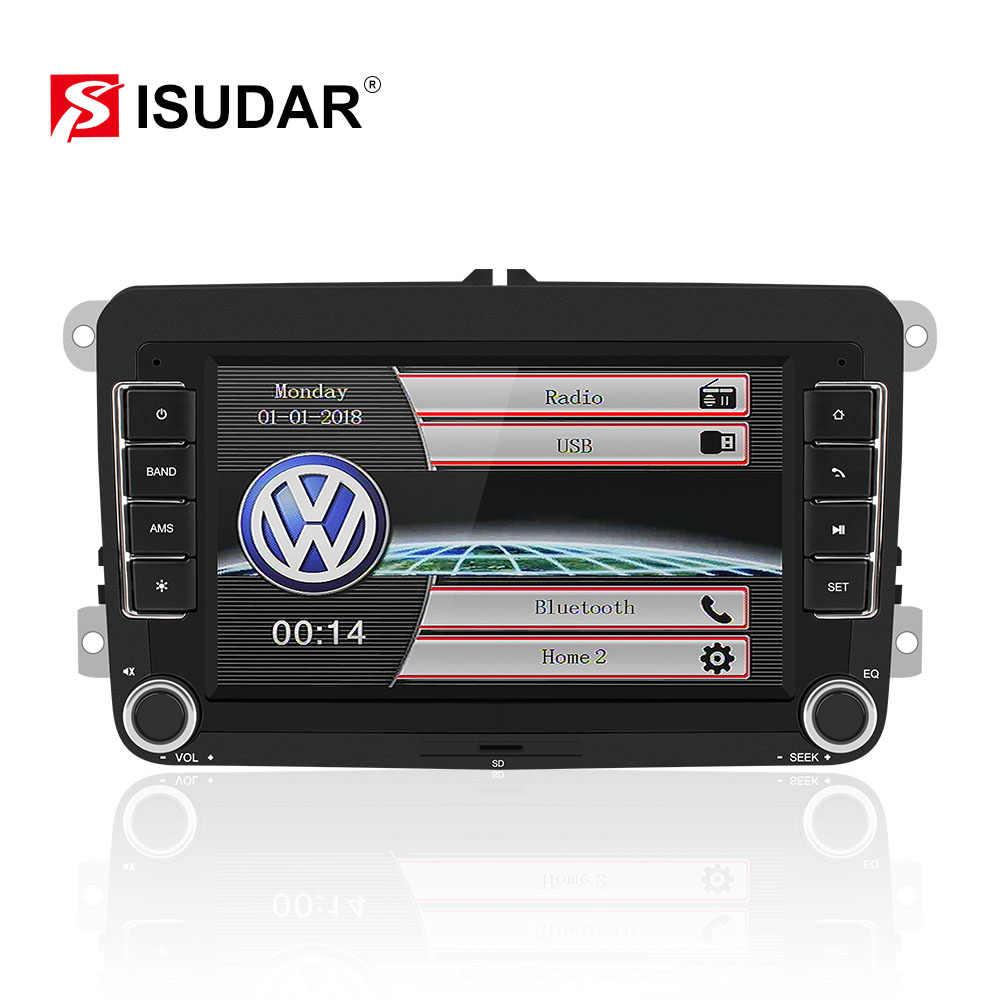 Isudar 2 DIN วิทยุอัตโนมัติสำหรับ VW/Volkswagen/Skoda/Octavia/Fabia/Yeti/Superb/ ที่นั่งรถมัลติมีเดียสเตอริโอ CANbus Mirror Link กล้อง