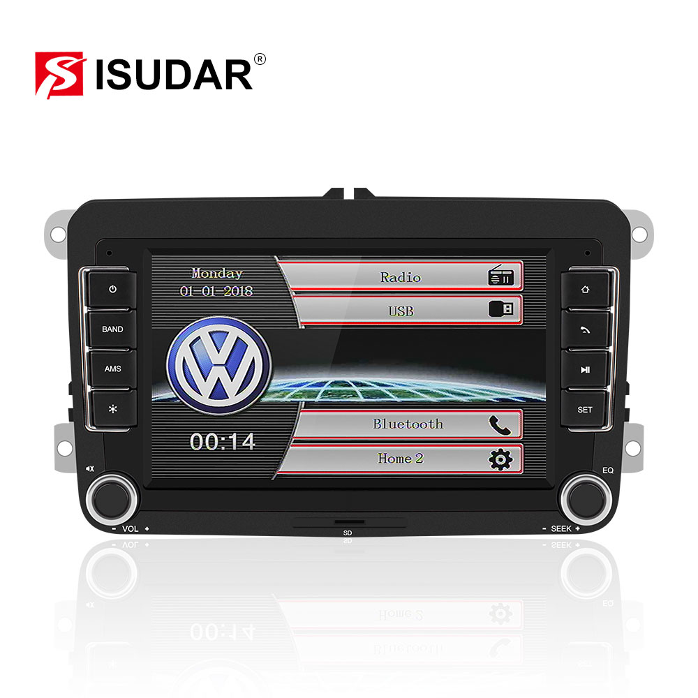 Isudar Car Multimedia player automotivo GPS Autoradio 2 Din For <font><b>Skoda</b></font>/Octavia/<font><b>Fabia</b></font>/Rapid/Yeti/Superb/VW/Seat car dvd player image