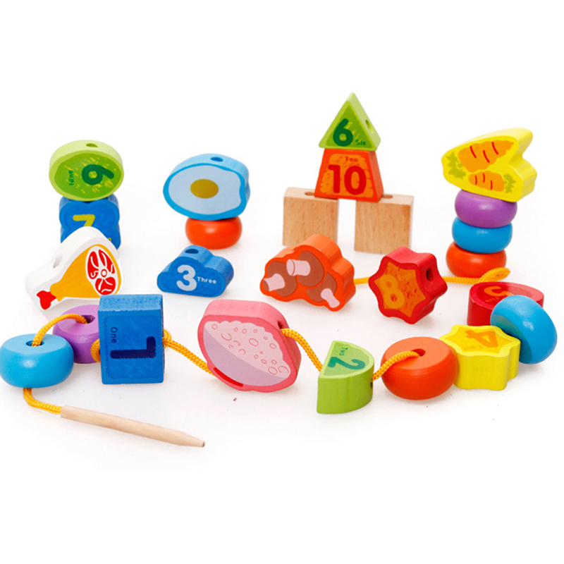 Wooden Toys Baby DIY Toy Cartoon Fruit Lettle Number Stringing Threading Wooden Beads Toy Monterssori Educational For Kids