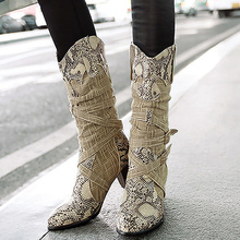 Winter boots woman 2019 Snake print Plus size 40-43 Boots women Mid-Calf Increasing Rubber for Mixed Colors Fashion