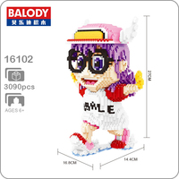 Balody 16102 Anime Dr.Slump Alrale Pink Angel Wings Glasses Running Girl DIY Diamond Mini Building Small Blocks Brick Toy no Box