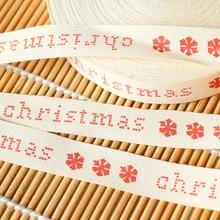 15 мм ширина Счастливого Рождества печатные хлопковые ленты DIY банты подарочная упаковка Снежинка Рождество год лента швейная ткань