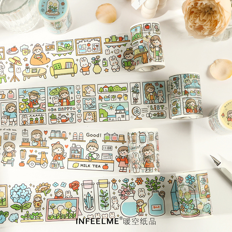 1pcs/1lot Washi Masking Tapes Life Is Fun Fresh And Cute Decorative Adhesive Scrapbooking DIY Paper Japanese Stickers 5M