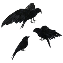 3pcs Realistic Handmade Crow Props Lifelike Raven with Black Eyes for Halloween Ghost Festival Prop Party Ravens Decorative Bird