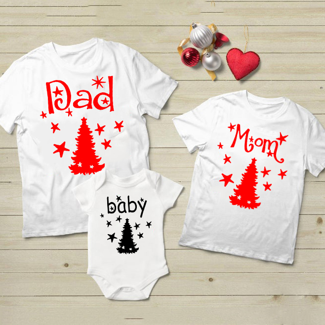 1pcs Christmas Dad&mom Tshirt Baby Cotton Romper First Christmas Family Party Clothes Mommy Daddy And Baby Cute Matching Outfits