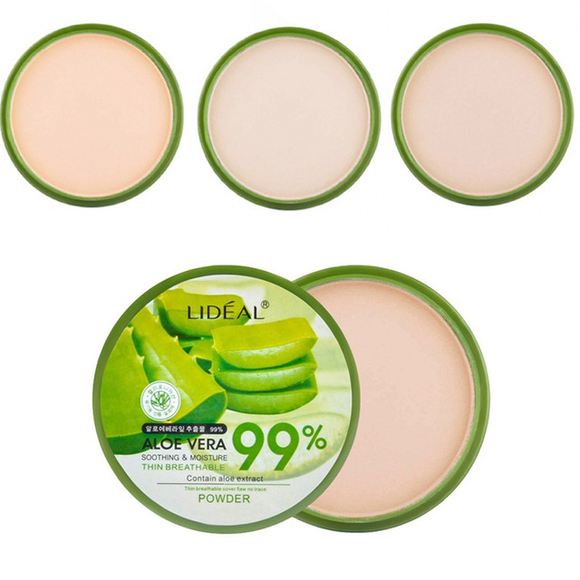 Hot 1pc Aloe Vera Moisturizer Face Powder Smoothing Extract Pressed Powder Breathable Makeup Concealer Brighten Foundation