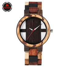 REDFIRE Pure Wooden Men's Watch Quartz Movement Wood Watches for Men Folding Clasp Retro Fashion Mens Casual Timepiece reloj bobo bird all zebra wood men s quartz watch analog japan movement 2035 casual wooden band wood watches as gifts for men