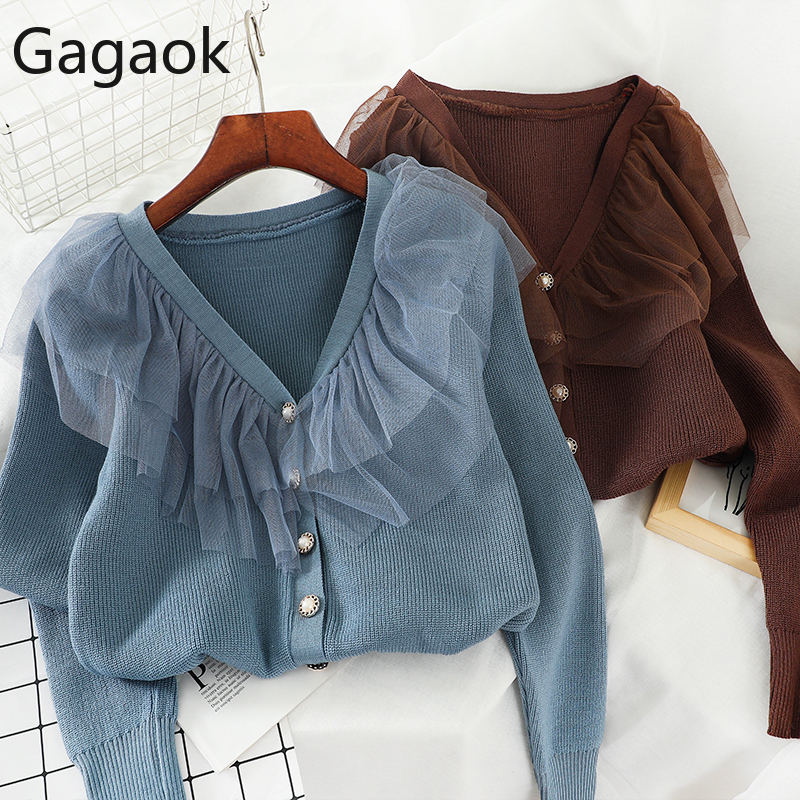 Gagaok Women Knitted Fashion Sweater Spring Autumn Solid V-Neck Full Short Button Patchwork Mesh Slim Harajuku Female Pullover