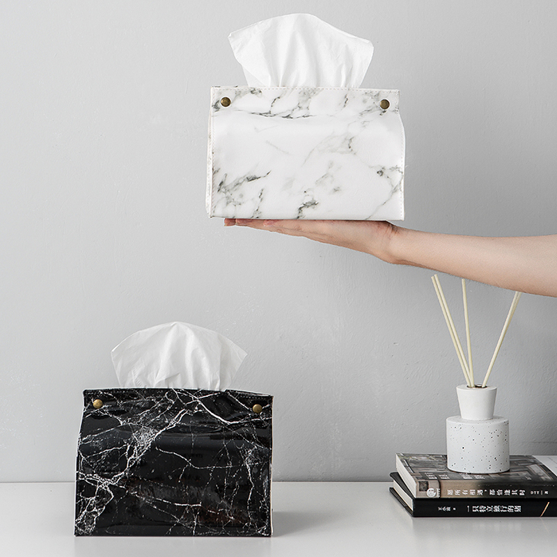 PU Leather Marble Pattern Chic Tissue Case <font><b>Box</b></font> Home <font><b>Car</b></font> Towel Napkin Papers Bag Container Holder Decoration Organizer Baskets image