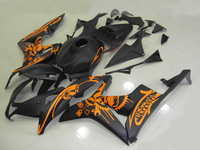 Injection Motorcycle fairings For HONDA CBR 600RR 07 08 matte black orange custom paint ABS fairing kit /x13