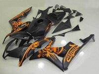 Injection Motorcycle fairings For HONDA CBR 600RR 07 08 matte black orange custom paint ABS fairing kit /x13