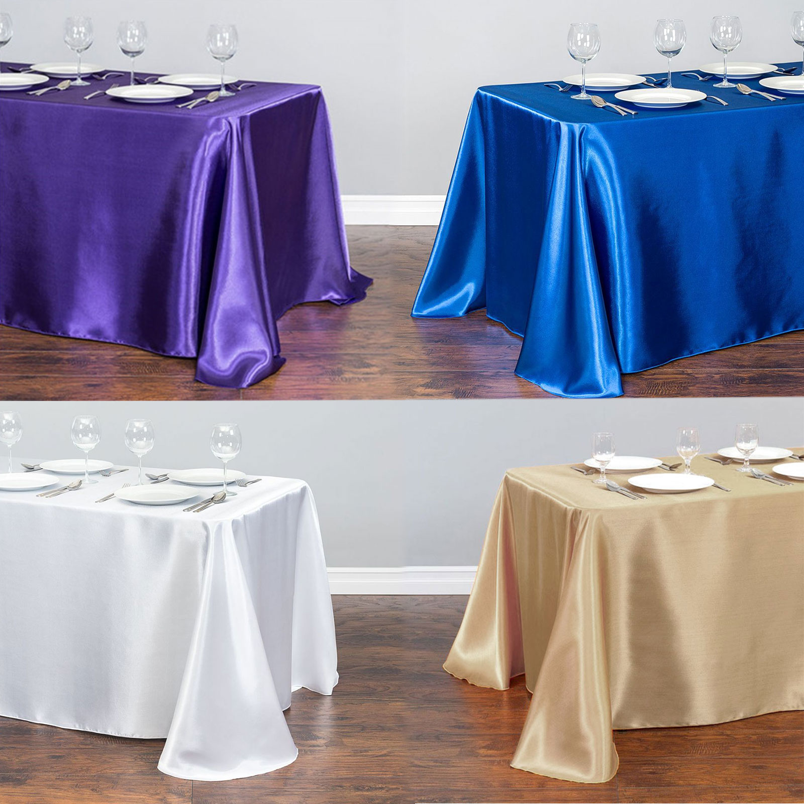 21 Solid Color Rectangular Satin Tablecloth Table Cover Dining For Wedding Party Banquet Decoration Christmas Table Clothes