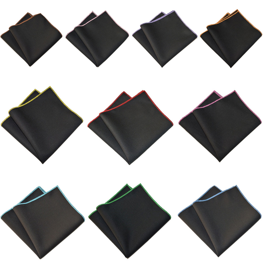 Mens Pocket Square Colorful Edge Black Handkerchief Party Accessories Hanky