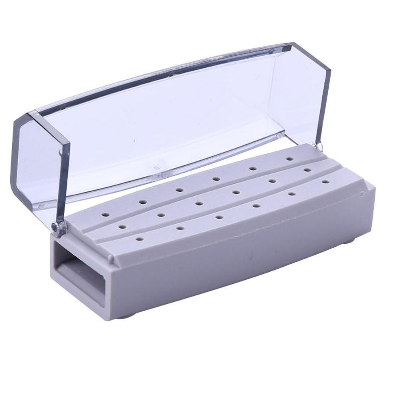 18 Holes Drill Bit Holder Block Dental Burs Stand Sterilizable Organizer Container Displayer With Transparent Cover