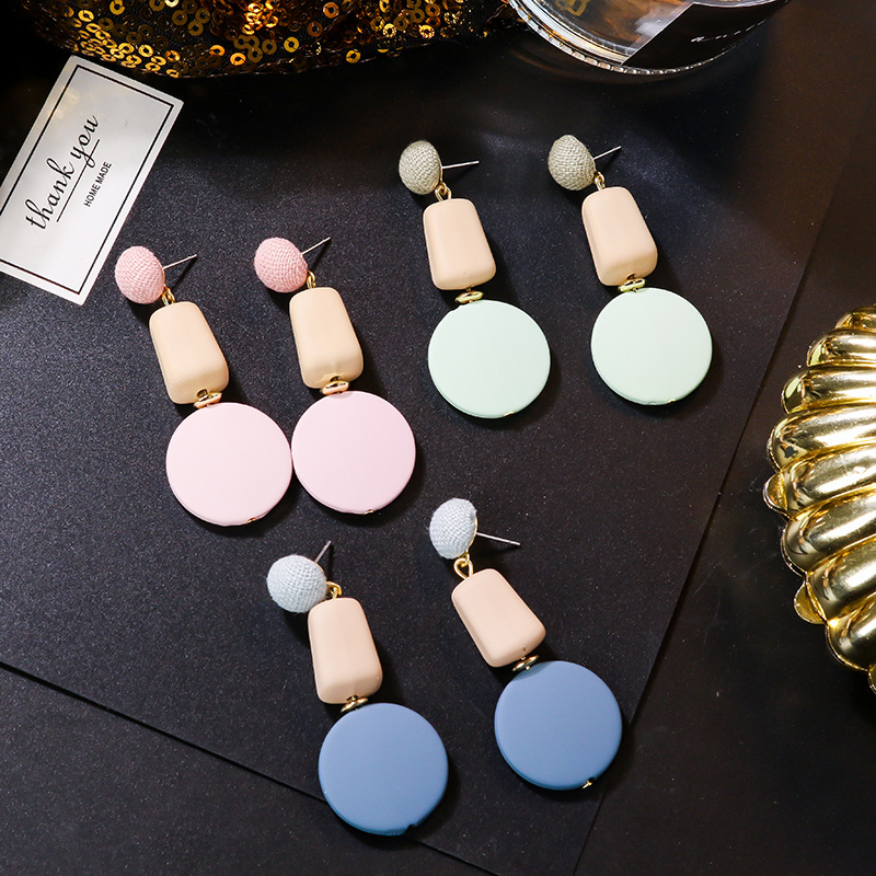 Fashion Earrings Pink Green Blue Gold Round Geometric Drop Acrylic Earrings For Women Punk Metal Earring Trendy Jewelry Elegant