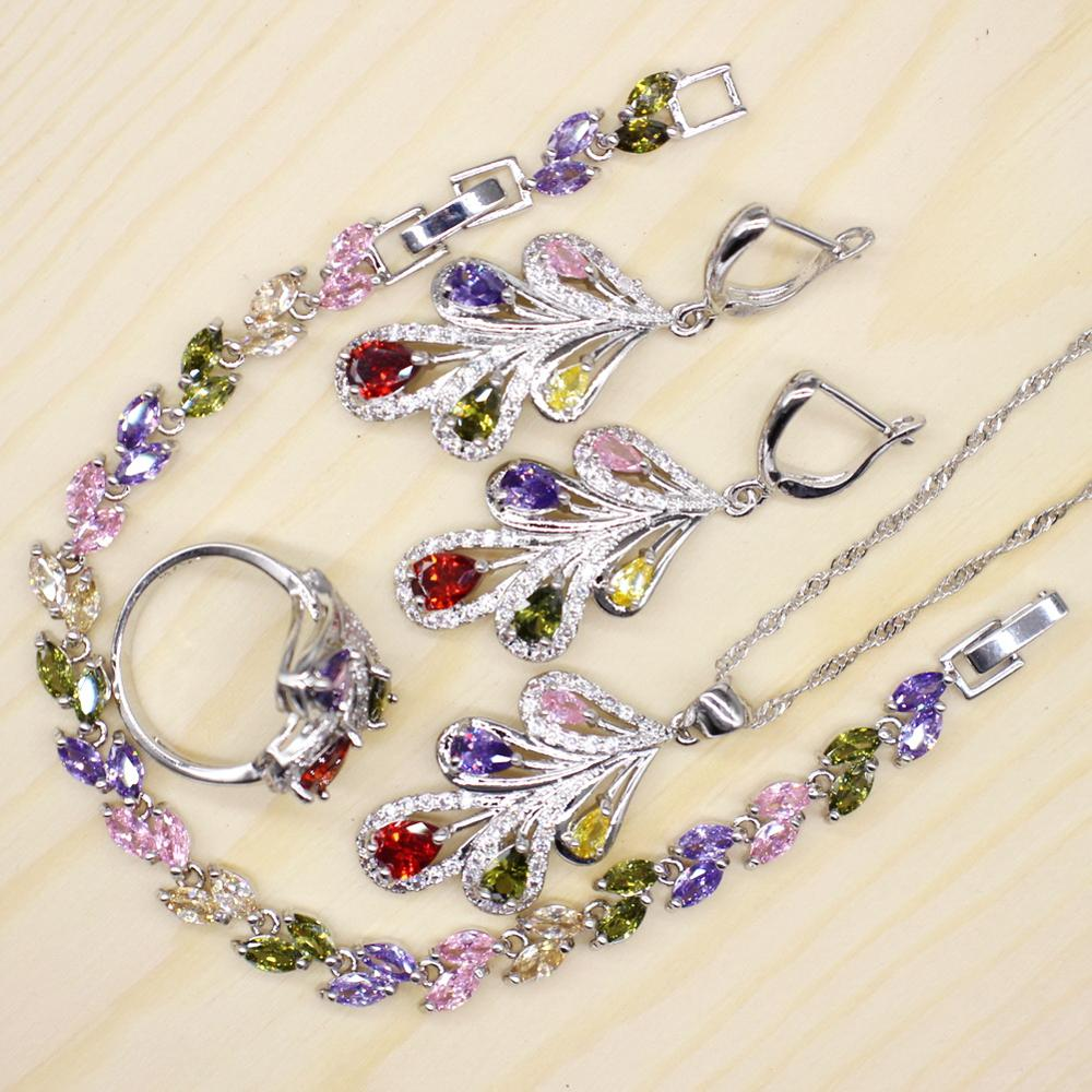 GZJY Vintage Tree Shape Multicolor Jewelry Sets for Women Cubic Zirconia Ring Necklace Earrings Bracelet Wedding Jewelry Sets(China)