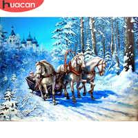 HUACAN Diamant Stickerei Landschaft 5D Diamant Malerei Kreuz Stich Pferd Bild von Strass Home Decor Weihnachten Geschenke