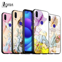 For Xiaomi Redmi Note 9 Max 8T 8 7 6 Pro Gloss Black Cover Sarah Kay Pattern For Redmi Note 5 Pro 5A 4 4X Phone Case