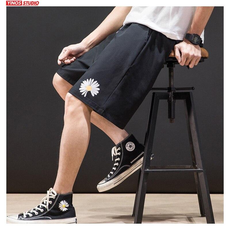 Dropshipping Men Flower Printed 4 Colors Shorts Mens 2020 Knee Length Harajuku Loose Sweatpants Male Fashion Shorts Oversize 5XL