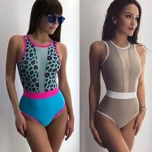 Sexy Swimwear 2019 Mesh Leopard Print Patchwork Swimsuit Female High Cut Monokini Bikini Push Up Bathers Bathing Suits