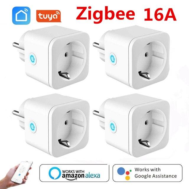 ZigBee חכם תקע האיחוד האירופי 16A מתאם כוח צג טיימר שקע Tuya שקע אלחוטי עבור Alexa גוגל עוזר הבית