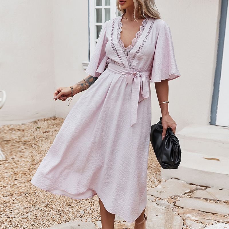 Париж, для девушек, элегантное Бохо светильник фиолетового цвета с v образным вырезом; Нарядная Обувь На Шнуровке Для женщин; Пикантные Весенние Свадебные праздничные женское платье летние повседневные шикарные платья|Платья| | АлиЭкспресс