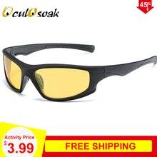 Oculosoak 2019 Night Vision Sunglasses Fashion Men HD Polarized Glasses UV400 Black Frame Driving Eyewear Gafas De Sol O003