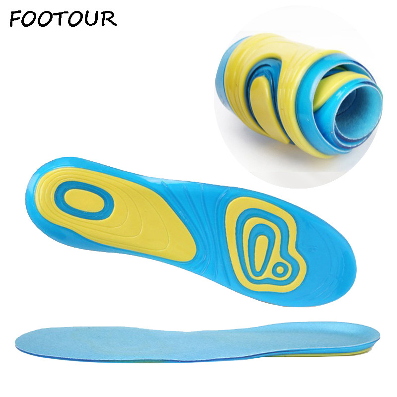 FOOTOUR Silicone Gel Insoles Foot Care for Plantar Fasciitis Heel Spur Sneaker Shoes Pad Sport Insoles Soft Orthopedic Insole image