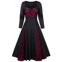 ImliyBela Vintage gothic Long Dress Women Casual Long Sleeve Bowknot Button lace patchwork A-line Maxi Dress High Waist Vestidos