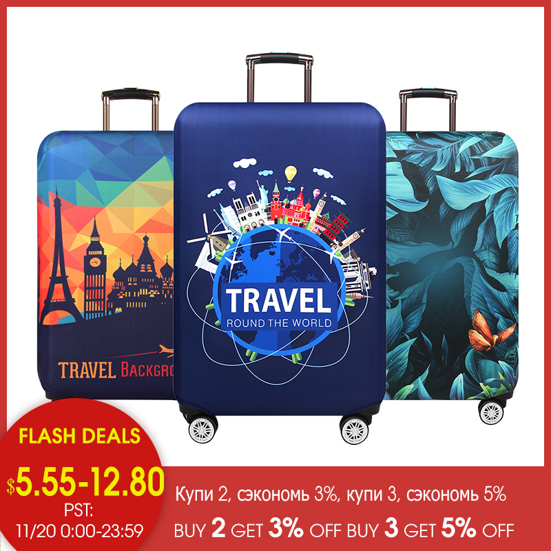 JULY'S SONG Thicken Suitcase Protective Covers For 18-32 Inch Suitcase Case Travel Luggage Bag Trolley Elastic Luggage Cover