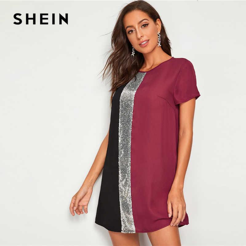 SHEIN cekiny szczegółowo Colorblock tunika krótka sukienka kobiety dziurka z powrotem z krótkim rękawem wokół szyi proste luźne swobodne sukienki