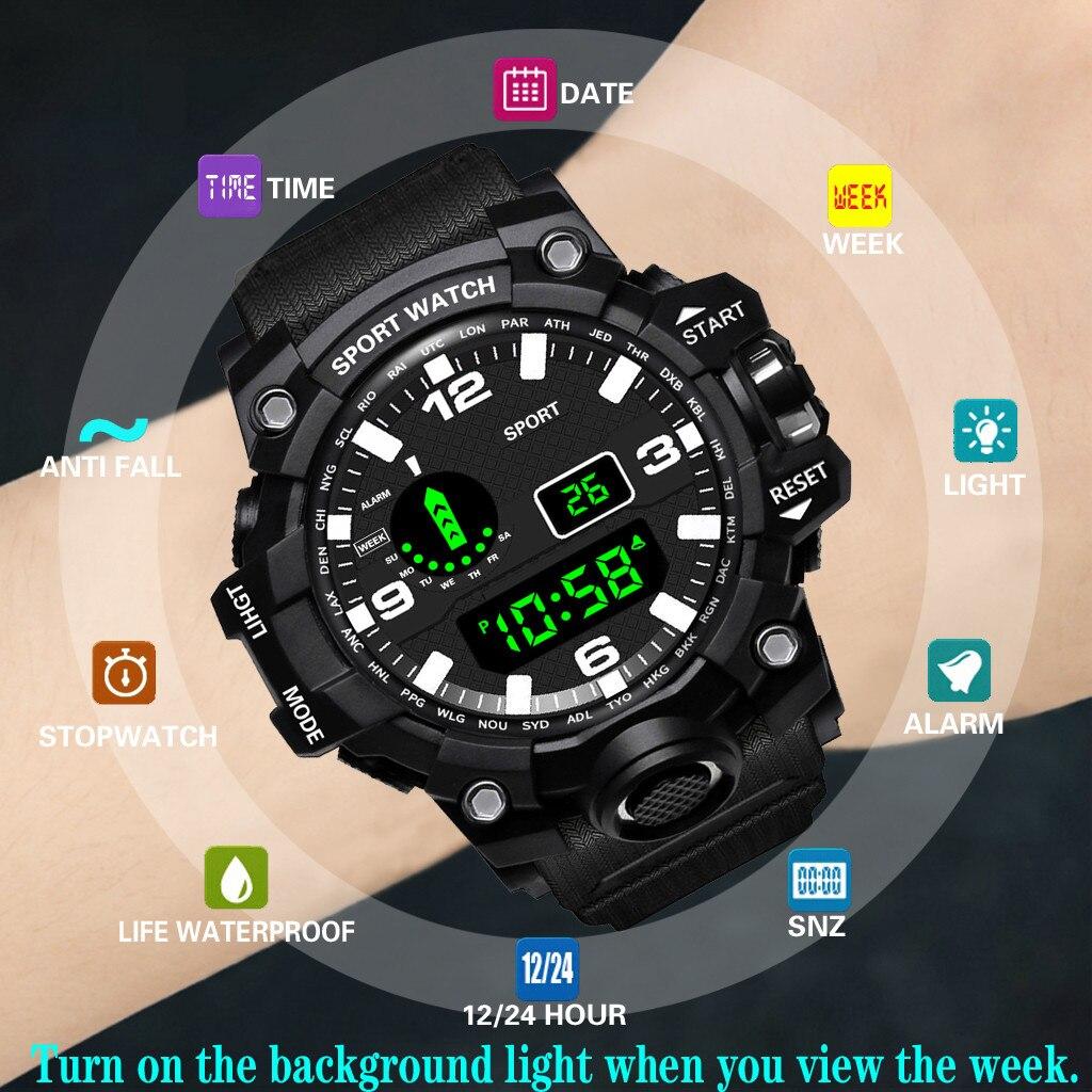 Luxury Mens Digital LED Watch Date Sport Men Outdoor Sport Watch Electronic Digital Watch Gifts Men's Wrist Luminous Watch For S